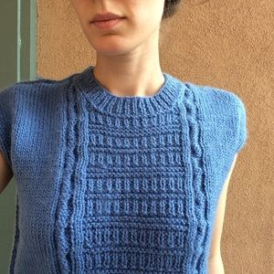 Vintage Sweaters - Baby Blue Soft Knit Short Sleeve Sweater Vintage